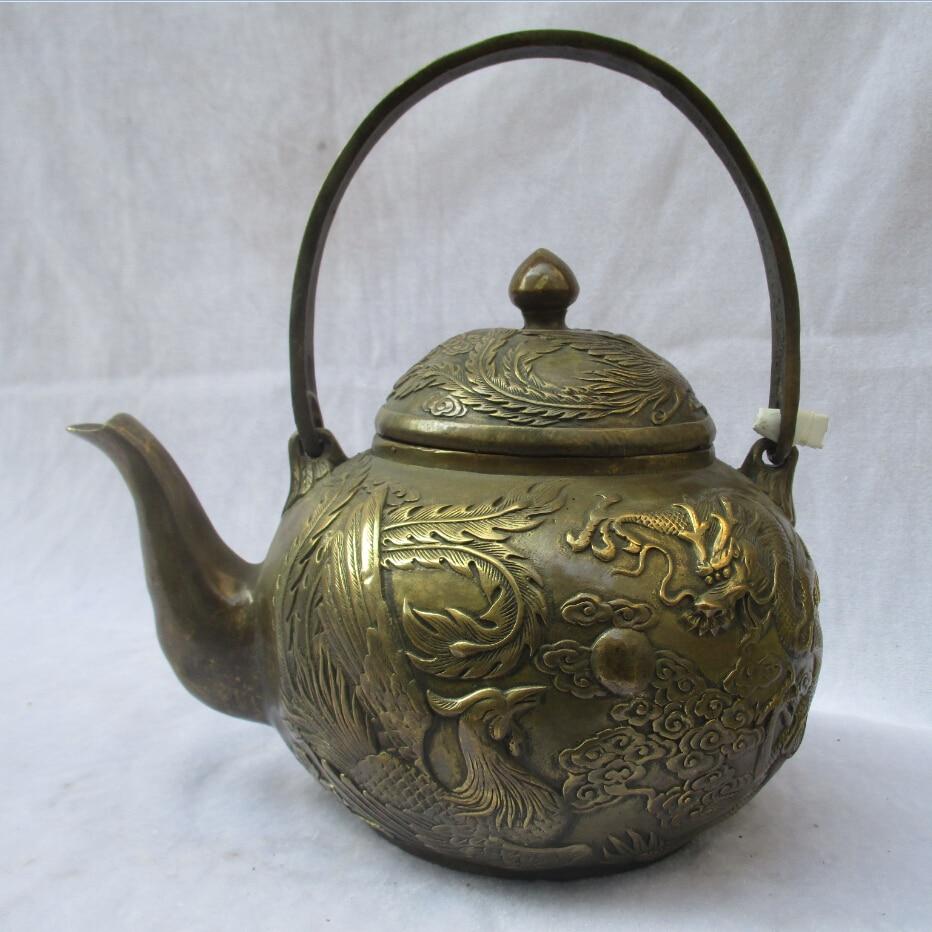 CHINESE OLD COPPER HANDWORK DRAGON TEA POT