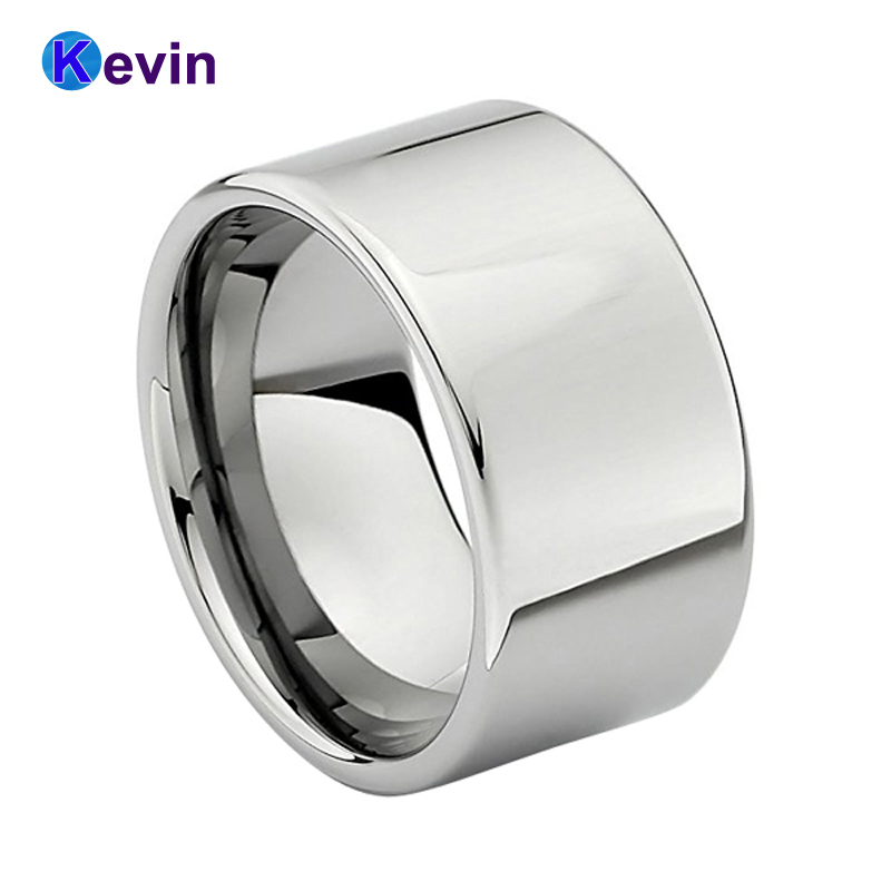 Silver Ring Tungsten Carbide Ring Mens Wedding Band Flat Band High Polish Width 12MM кольцо s j063 wedding band ring