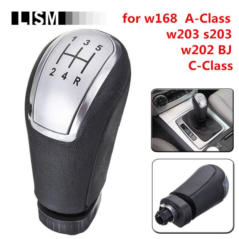 Verchromte 5 Geschwindigkeit MT Schaltknauf für Mercedes-Benz EINE KLASSE W168 1997-2004 Aclass/C -klasse W203 S203/W202 BJ 93-01 Schalthebel