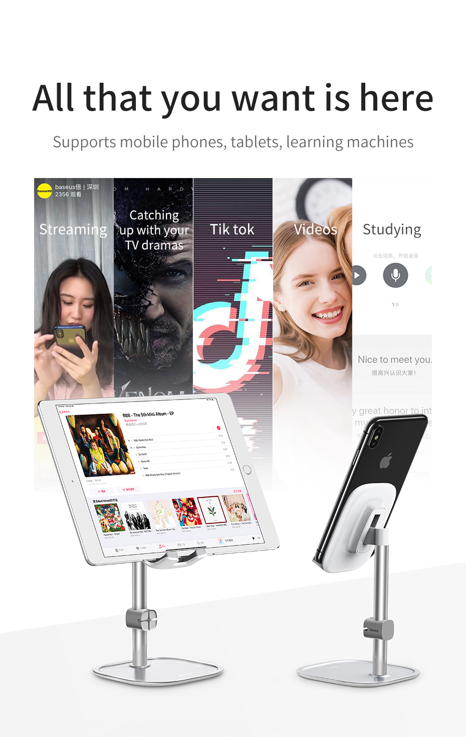 Baseus Mobile Phone Holder For iPhone XS Max iPad Non-slip Adjustable Metal Desktop Phone Stand For Samsung Xiaomi Huawei Tablet 2