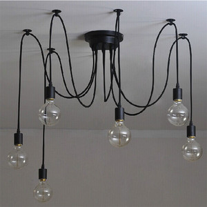Image 4 - 6pcs/lot 6 Heads Vintage Industrial Ceiling Lamp Simple structure Edison Light Chandelier Pendant Lighting