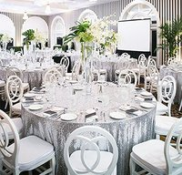2017 Glitter Sequin Tablecloth 102 Inch Wedding Cake Tablecloth Round Wedding Sequin Table Linens Silver Champagne