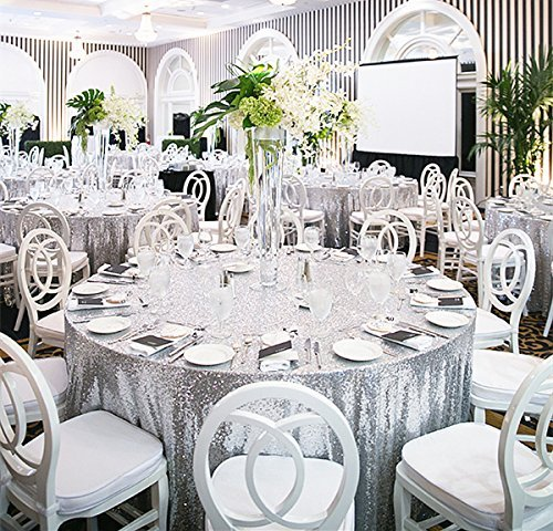 2017 Glitter Sequin Tablecloth 120 Inch Wedding Cake Round Table Linens Silver Champagne Gold White In Tablecloths From Home