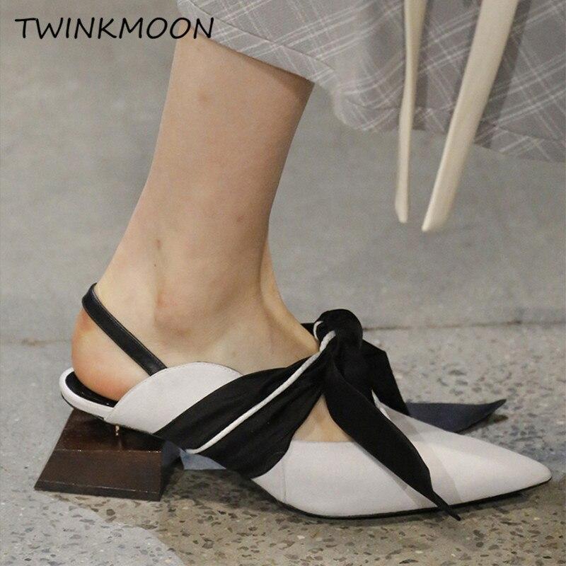 Étrange géométrique bloc talon sandales grand noeud papillon Mules célébrité femmes chaussures bout pointu daim peau de mouton dames sandales