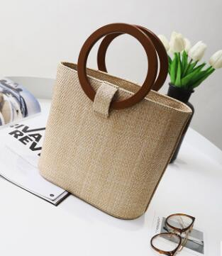 2018 new European and American beach bag woven solid wood wild shoulder Messenger bag 5