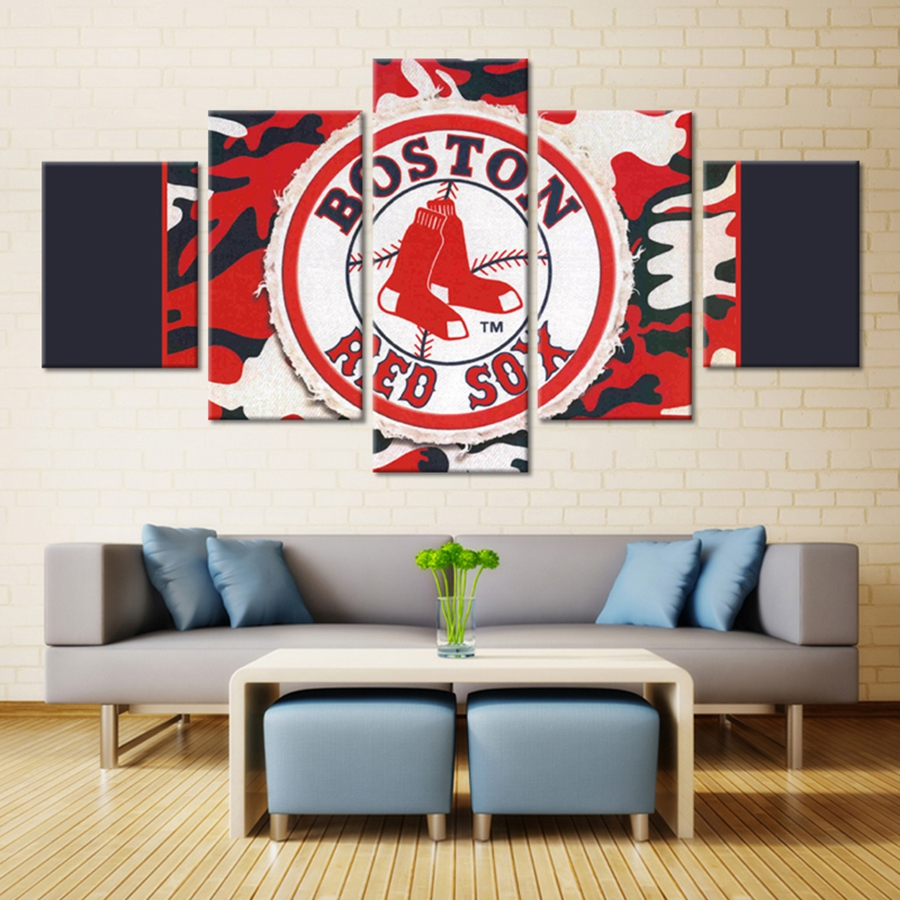 Boston Red Sox Baseball Oil Wall Artwork Painting On Canvas For Bedroom Decoration Waterproof Customized