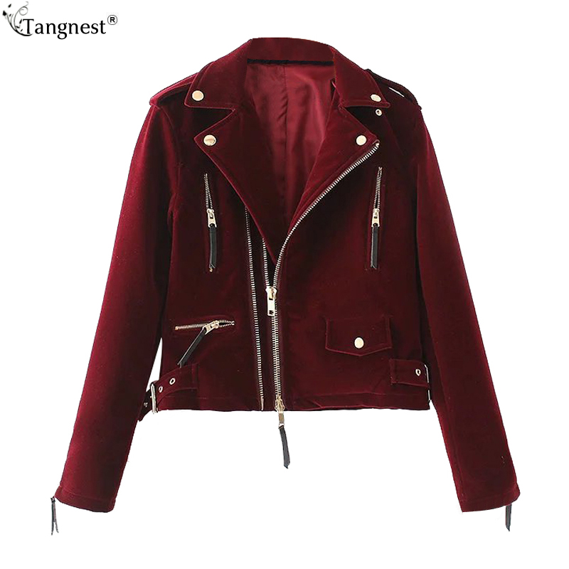 TANGNEST Velvet Bomber Jackets Women 2017 Autumn Turn-down Collar Lady Tops Zippers Slim Short Outwears Winter Coats WWJ881
