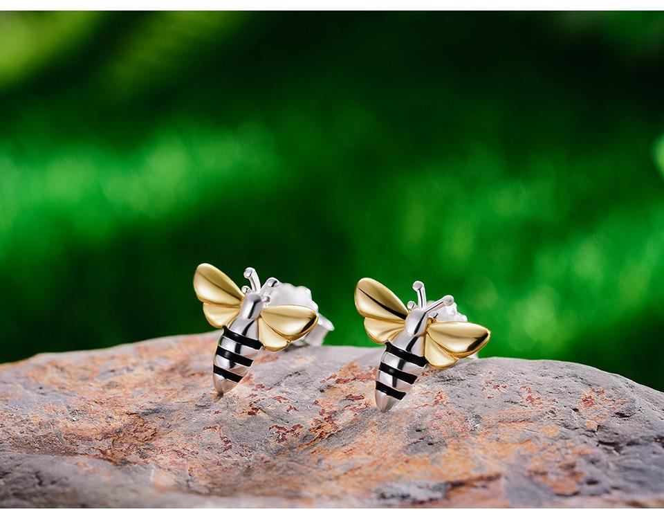 HTB1iV8esbPpK1RjSZFFq6y5PpXa4 Lotus Fun Real 925 Sterling Silver Earrings Designer Fine Jewelry Lovely 18K Gold Honey Bee Stud Earrings for Women Gift Brincos