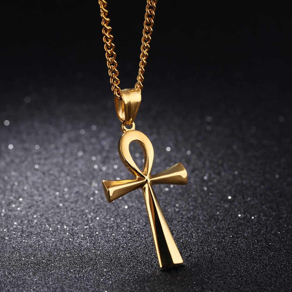 דת מצרי אנק צלב שרשראות צלב תלוי נירוסטה סמל של חיים צלב שרשראות תכשיטי מתנות
