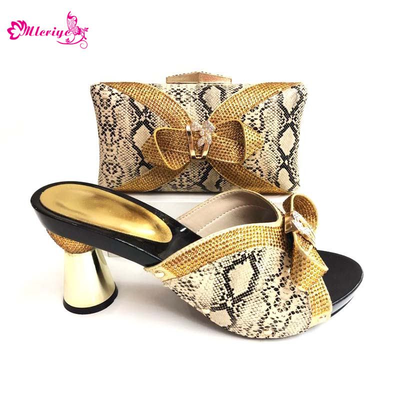 0089 New Arrival Gold Color African Shoes and Matching Bags Italian Shoe and Bag Set for Party In Women Nigerian shoes new arrival african rhinestone hig heels shoes and bags set new italian woman orange color shoes and bags set for party bch 381