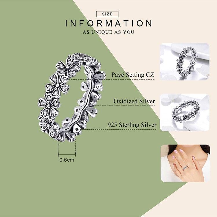 HTB1iV8tcjbguuRkHFrdq6z.LFXaQ BAMOER Trendy New 100% 925 Sterling Silver Stackable Daisy Flower Finger Rings for Women Sterling Silver Wedding Jewelry SCR397
