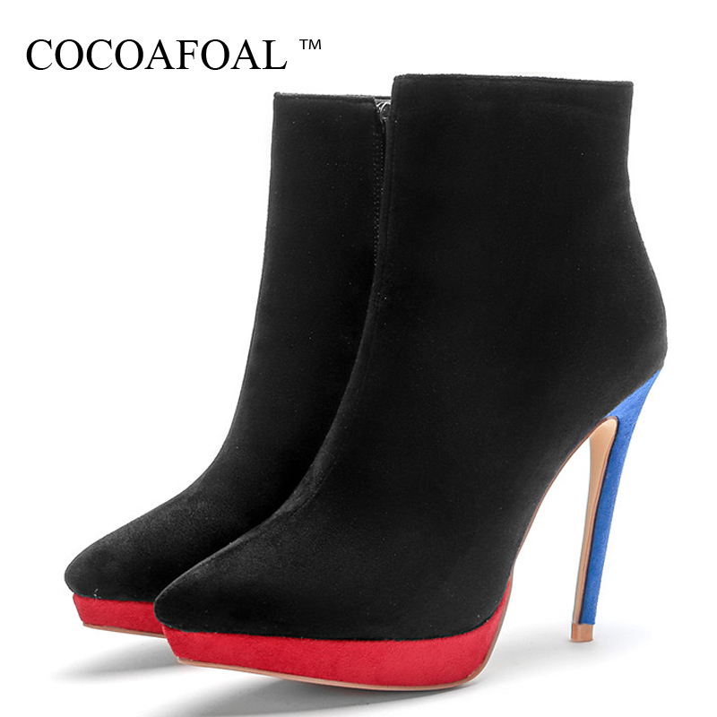 COCOAFOAL Autumn Winter Womens Ankle Boots Woman High Heels Shoes Plus Size 43 Black Martin Boots Stiletto Chelsea Boots 2018COCOAFOAL Autumn Winter Womens Ankle Boots Woman High Heels Shoes Plus Size 43 Black Martin Boots Stiletto Chelsea Boots 2018