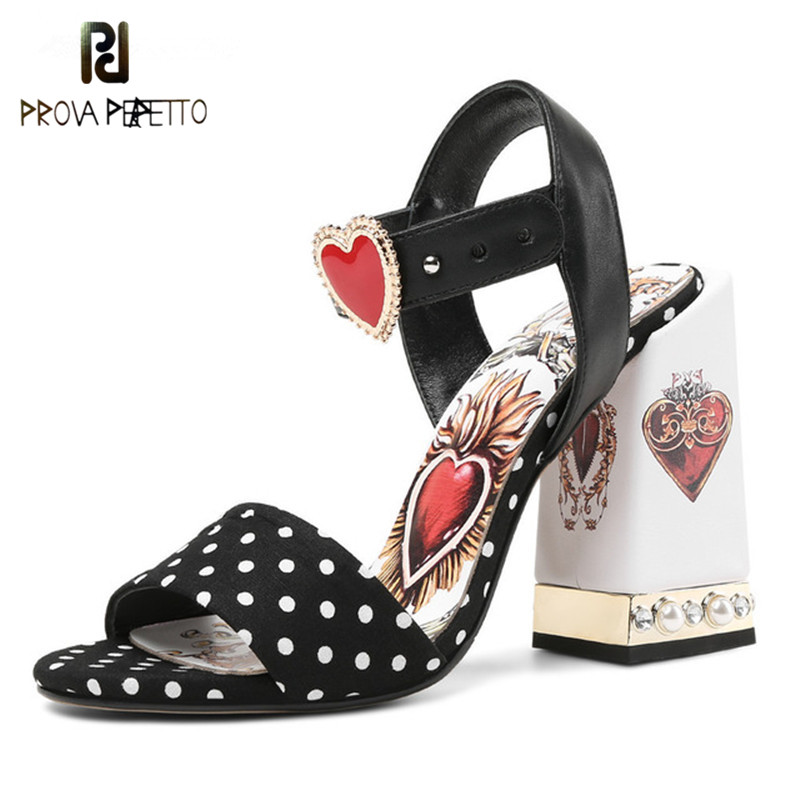 Prova Perfetto Sexy Red Heart Chunky Heel Gladiator Sandals Rhinestone Ladies Dress Shoes Woman High Heel