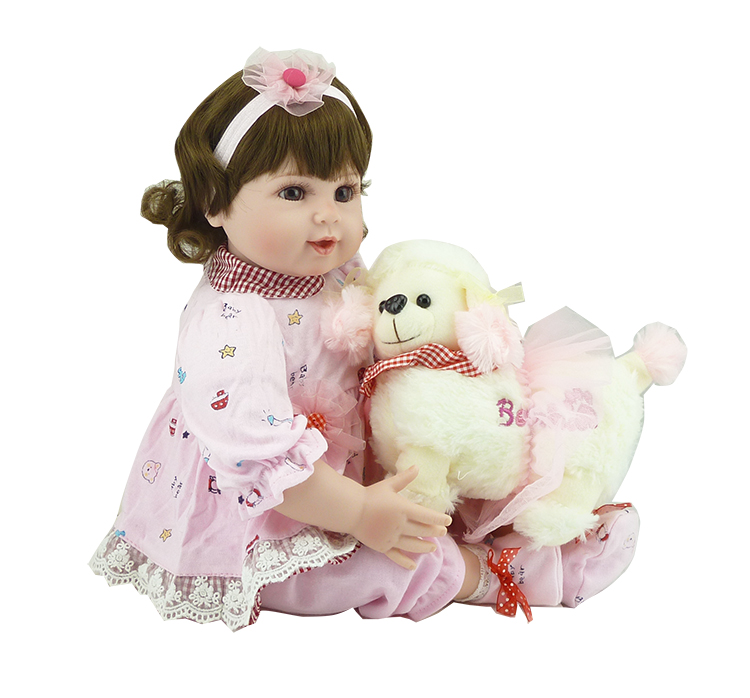 20 inch silicone babies doll toys with dog dolls 50 cm Toddler girl dolls for children vinyl baby born dolls toy for girls gifts renault защита фар logan 2010 2013 classic черный