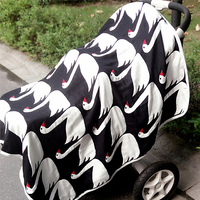Free Shipping Baby Blanket Black White Six Layers Of Gauze Baby Bath Towels Cute Swan For