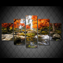 Canvas HD Prints Poster Modular Wall Art Pictures Frame 5 Pieces Autumn Nature Forest Landscape Painting Living Room Home Decor(China)