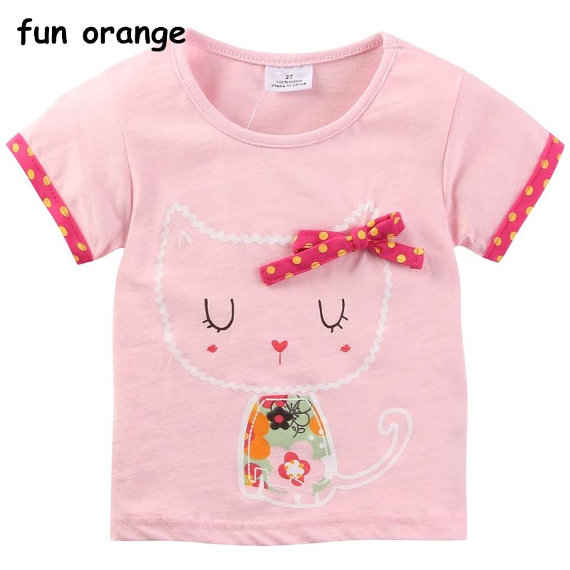 Fun Orange 1-7 years baby Girl t-shirt big Girls Tee Shirts for children Girl Blouse t shirt 100% Cotton Kids Summer Clothes стоимость