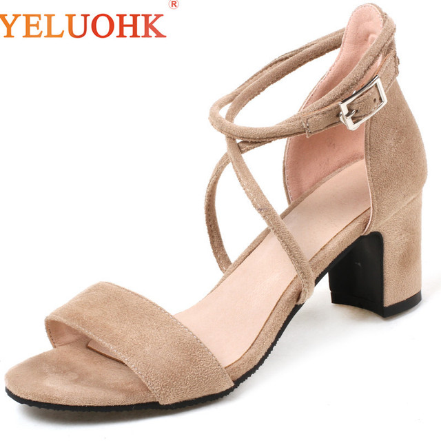 33-42 Women Sandals Heel Big Size 2018 Summer Shoes Comfortable Sandals Female
