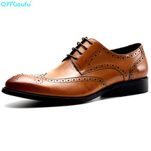 New Genuine Cow Leather Carving Brogue Shoes Men For Wedding Fashion Dress Oxfords Four Colors Vintage