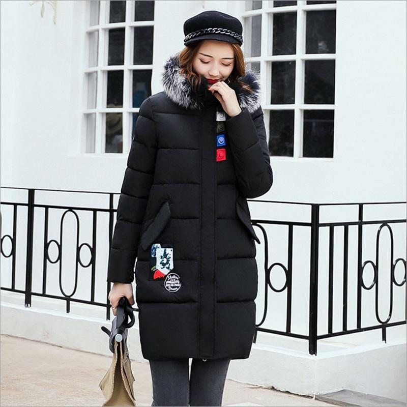 2017 Female Jacket Winter Jacket Women New Fashion Big Fur Collar Slim LONG Coat Female Women's Winter Coats M-3XL Plus Size