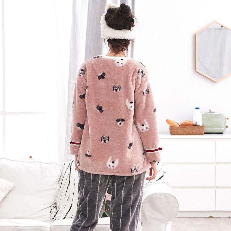 New Arrive Girl Sleepwear Female Winter Flannel Lounge Thickening Coral Fleece Long-sleeve Nightgrown Nightdress Pajamas