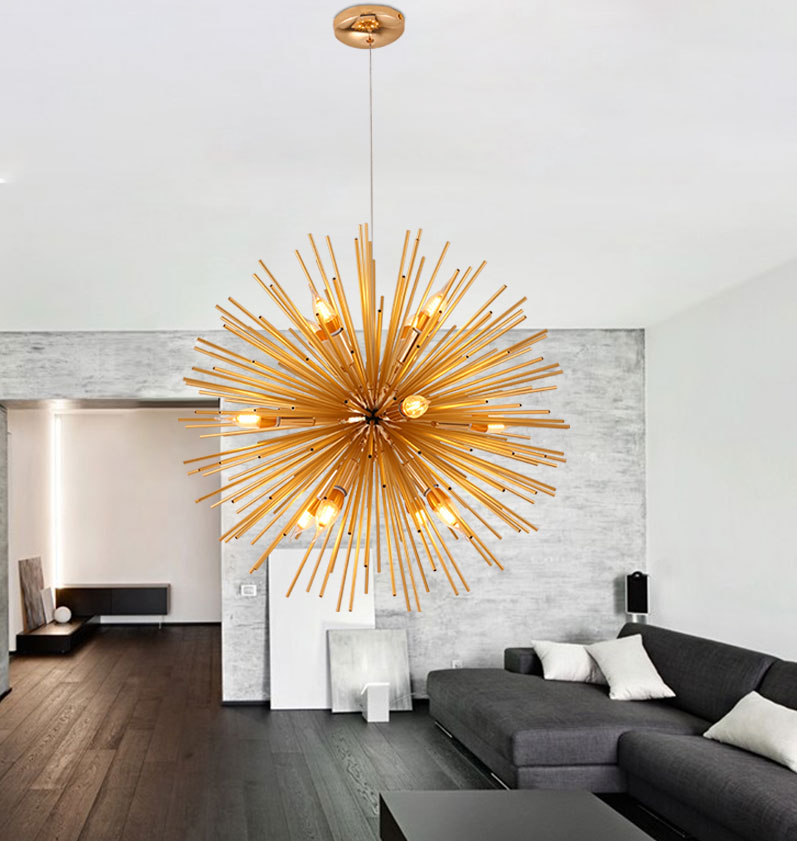 Post modern Gold Pendant Lights Living Room  Restaurant Study led radiation sphere art Personality design pendant lamp|Pendant Lights| |  - title=