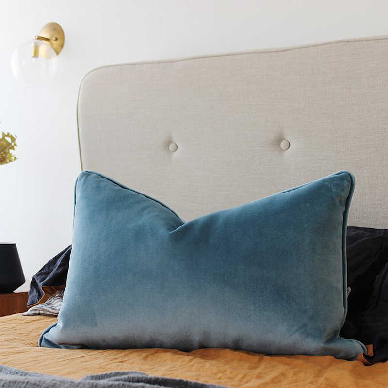 soft light blue velvet cushion cover pillow case bed sofa chair pillow cover piping design no balling up without stuffing