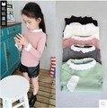 Paño Del Bebé de los niños Niñas Camisa de la Base 5 Colores Camisa de Encaje Princesa Estilo Largo Camisetas Primavera Otoño Camisetas Para Niñas KD2-7Y