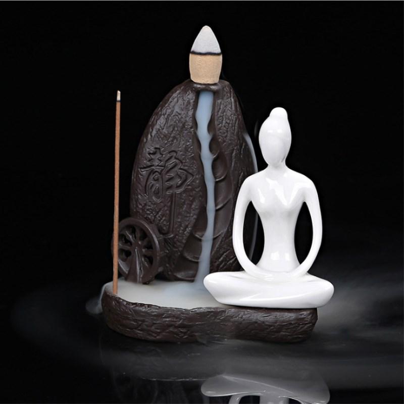 Creative Return Censer Home Decoration Yoga Static Ceramic Smoke Return Aromatherapy Incense Burner +5 Incense Sticks