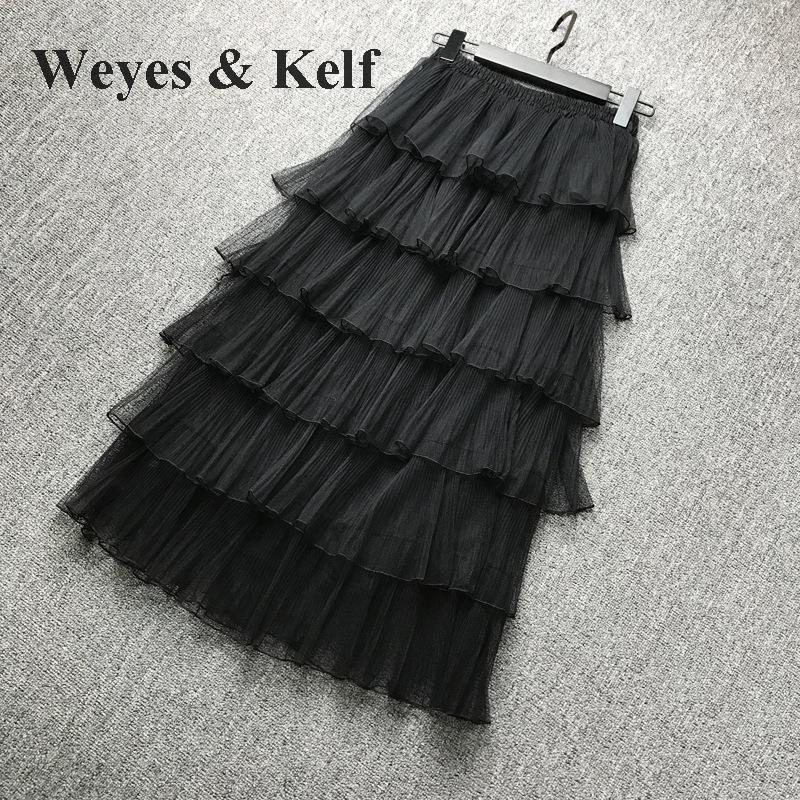 Weyes & Kelf Милая элегантная многослойная юбка принцессы для женщин 2018 Весенняя длинная юбка с оборками Тюлевая юбка пачка женские розовые юбки для женщин - 6