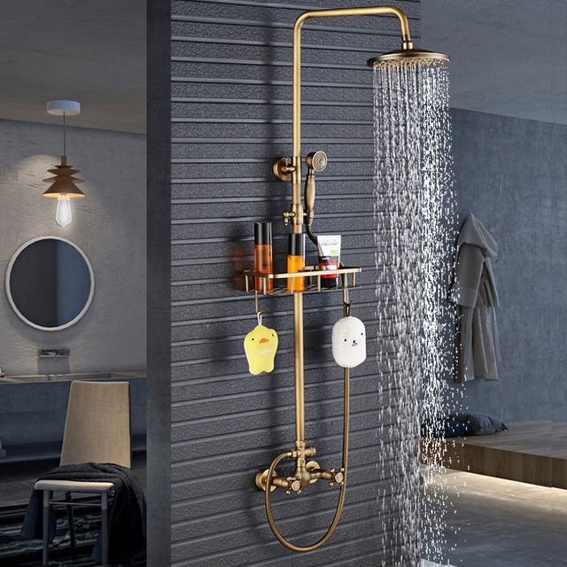 Antique Brass Shower Faucet Mixers Dual Handle Rainfall 8″ Brass Shower Head with Bath Storage Shelf and Hooks Shower Water Tap