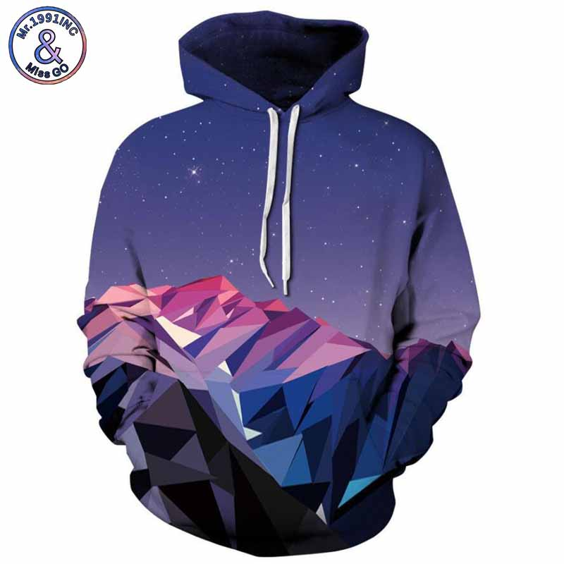 Mr.1991INC 2018 new beautiful sky pattern 3d Sweatshirts Men/womens hoodie sweatshirt casual Hooded Pullovers Men Hoodies M309