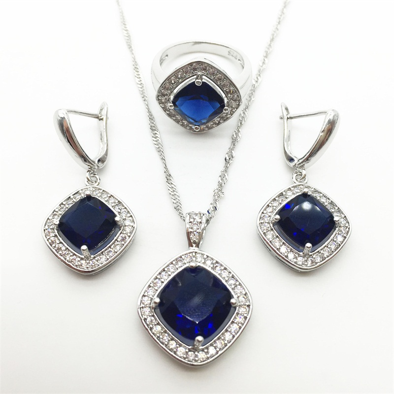 Capable Charming 925 Sterling Silver Montana Blue Jewelry Set Earrings/pendant/necklace Chain/ring For Women Free Jewelry Limpid In Sight