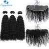 Sapphire Hair Products Malaysian Kinky Curly Hair With Closure Remy Hair Weave 3 Bundles Human Hair