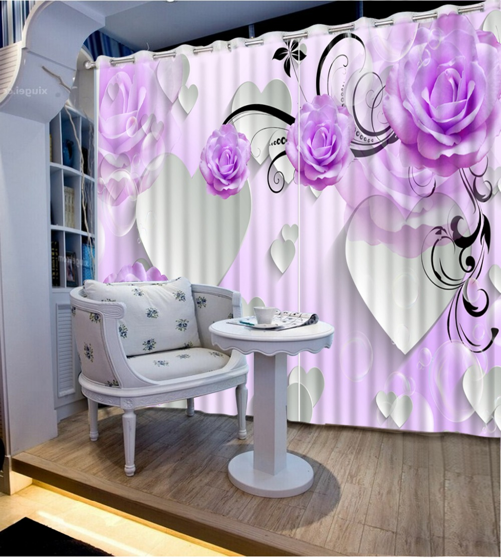 Custom 3d Stereoscopic Luxury Curtains For Living Room Rose Kitchen Window Butterfly