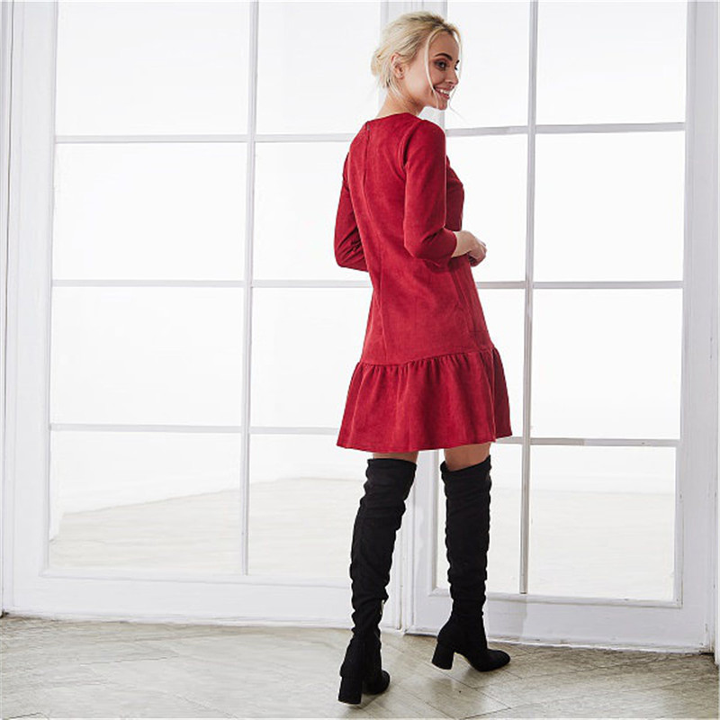 Fall 2018 Women Suede Casual Three Quarter Sleeve T Shirt Mini Dress Autumn Winter Fashion Vintage Ruffle Christmas Dresses 13