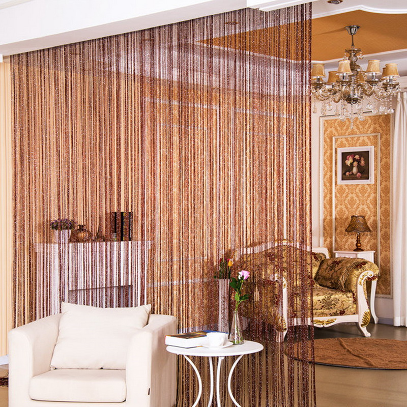 Urijk New Hot Silver Leather Line String Curtains Door Window Panel Curtain Divider Yarn String Curtain Strip Tassel Home Decor(China)