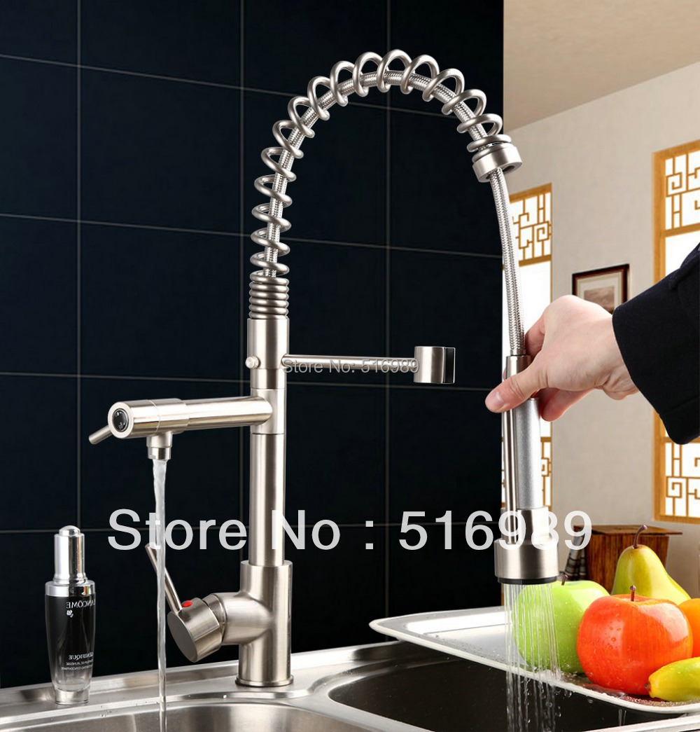 Free shipping Spring Kitchen Sink Vessel Solid Brass Faucet with Two Spouts DS 8525