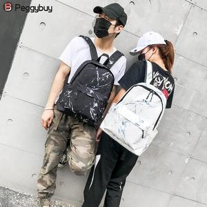 Image 2 - Fashion Unisex Backpack Women Men Canvas Backpack for Teen Girl Bags Casual Marbling Backpack Female Rucksack School Bag Mochila
