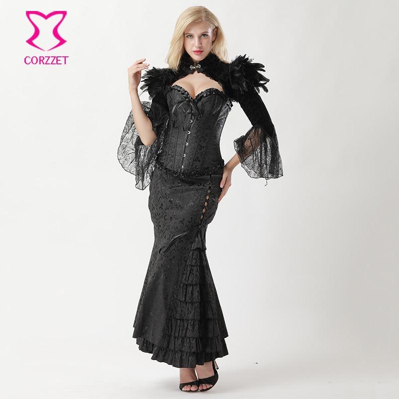 Black Victorian Corset Mermaid Skirt And Jacket Steampunk