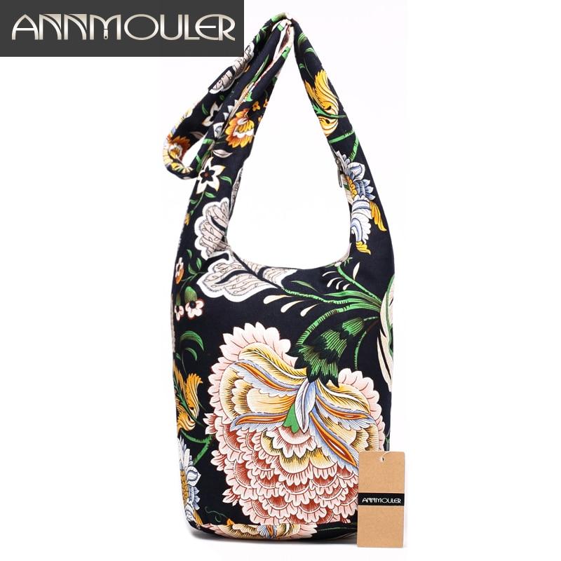 все цены на Annmouler New Fashion Women Shoulder Bag Cotton Fabric Sling Shoulder Bag Floral Print Large Capacity Crossbody Messenger Bag