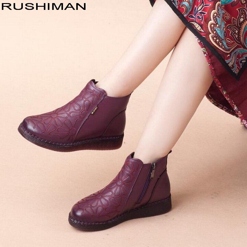 2018 Women Fashion Vintage Genuine Leather Shoes Female Autumn Winter Flower Ankle Boots Woman Classic Black