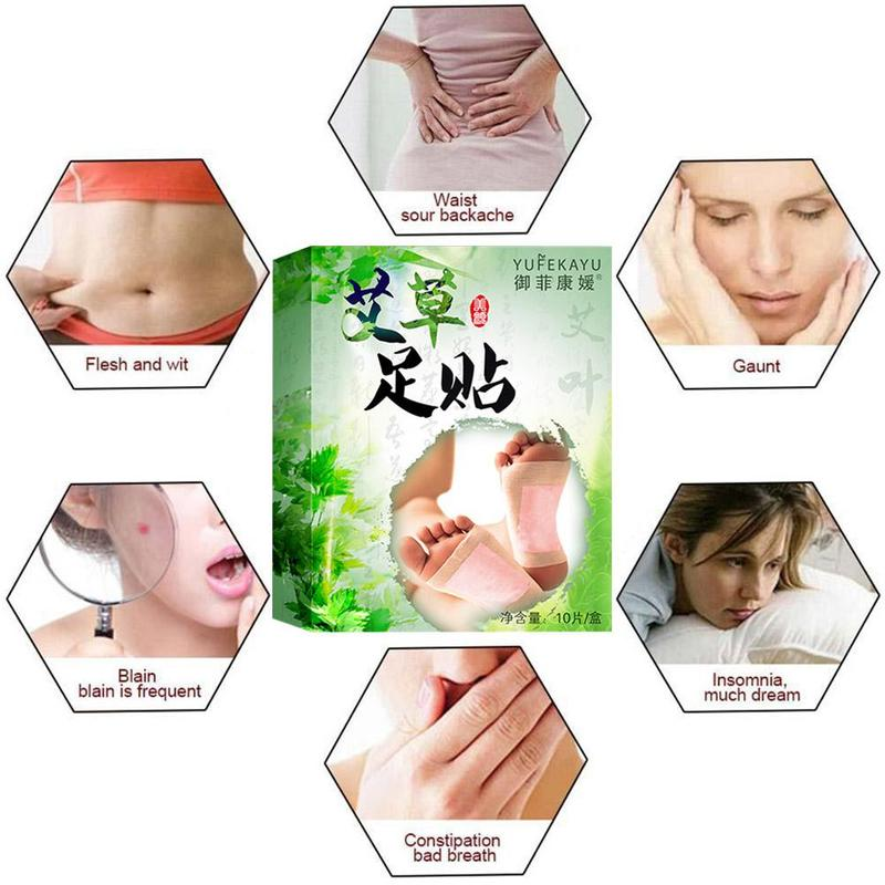 20pcs=(10pcs Patches+10pcs Adhesives) Detox Foot Patches Pads Body Toxins Feet Slimming Cleansing Herbal Adhesive 5