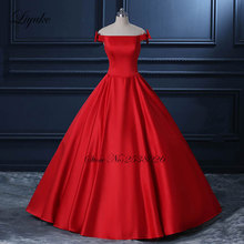 Liyuke Vestido De Noiva China Red Princess Ball Gown Wedding Dress With Boat Neck Off The Shoulder Bridal Dress 2017