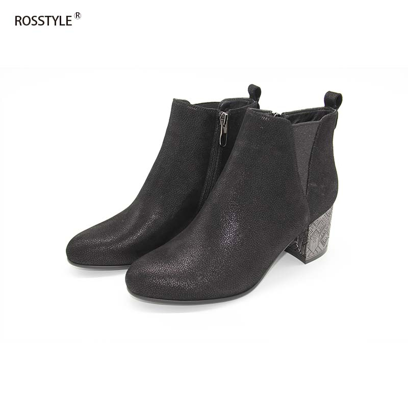 ROSSTYLE Shiny Metal Fleeces Lining Ankle Boots Nubuck Black Keep Warm Short Plush Short Boots High Heels Largest Size 36 40 B13 in Ankle Boots from Shoes