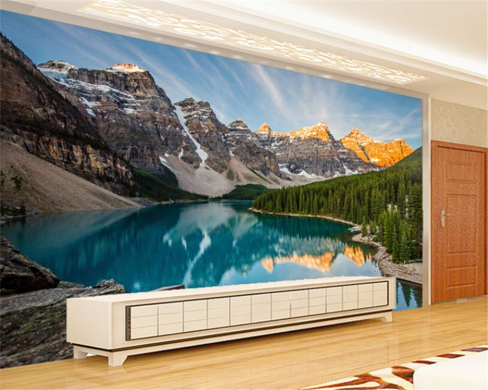 Custom HD lake water Snow Mountain Landscape scenery photo wallpaper decor painting 3d wall wallpaper for walls 3 d beibehang