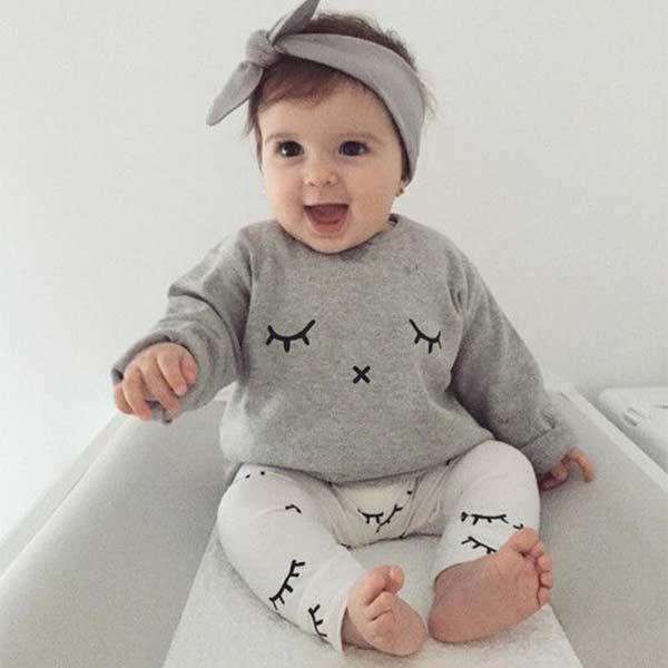 Cingida de aniversário Conjuntos Bodysuit Definir Cílios Impressão Bebê Recém-nascido Do Bebê Roupas Meninos Meninas Tops T shirt + Calças Compridas Outfits YH-17