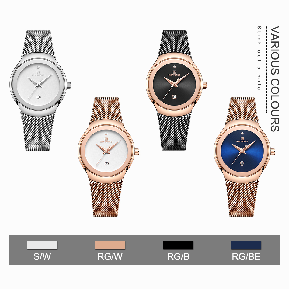 NAVIFORCE Women's Watches Fashion Girl Wristwatch Luxury Quartz Watch Women Stainless Steel Mesh Bracelet Clock Bayan Kol Saati (5)