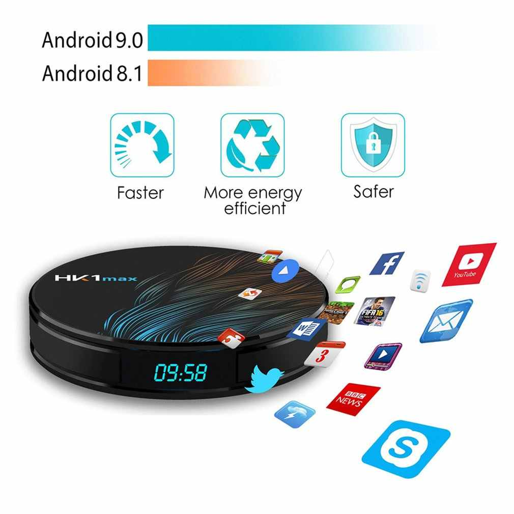 HK1MAX Smart tv box Android 9,0 2,4G/5G Wifi BT 4,0 RK3328 Четырехъядерный 4 K 1080 P Full HD hk1 max телеприставка Netflix КД-плейер