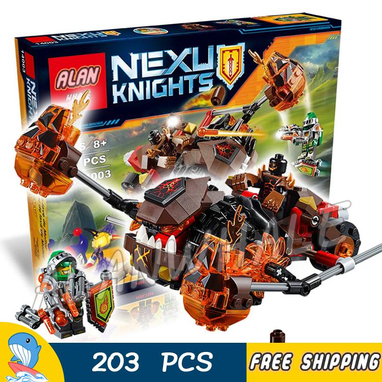 203pcs New Knights Moltors Lava Smasher Mixed Chariot 10481 Model Building Blocks Children Toy Nexus Brick Compatible With Lego